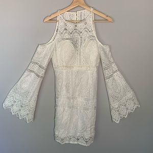 NWT L'Atiste Crochet Cold Shoulder Dress